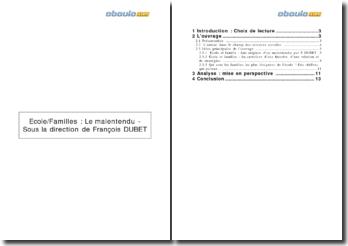 Ecole/Familles : le malentendu - François Dubet