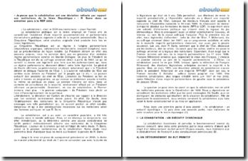 « Je pense que la cohabitation est une déviation néfaste par rapport aux institutions de la Vème République » - Raymond Barre dans un entretien paru en 2002