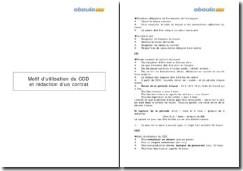 Motif d'utilisation du CDD et rédaction d'un contrat