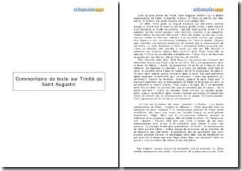 Commentaire de texte sur Trinité de Saint Augustin