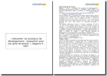 «Interpréter les processus de développement : proposition pour une grille de lecture», Florence Degavre, 2001