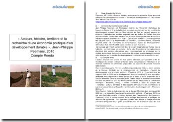 Acteurs, histoire, territoire et la recherche d'une économie politique d'un développement durable - Jean-Philippe Peemans, 2010