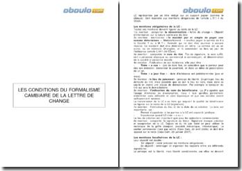 Les conditions du formalisme cambiaire de la lettre de change