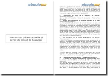 L'information précontractuelle et le devoir de conseil de l'assureur