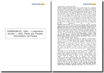 L'éducation morale - Durkheim 1902 : la pénalité scolaire