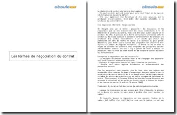 Les formes de négociation du contrat