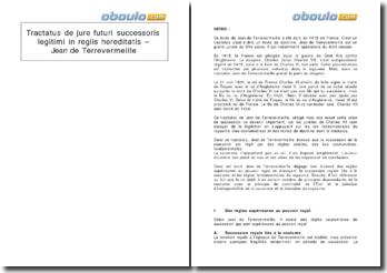 Tractatus de jure futuri successoris legitimi in regiis hereditatis - Jean de Terrevermeille