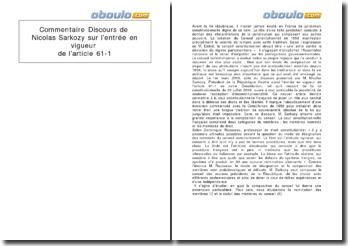 Commentaire du discours de Nicolas Sarkozy sur l'entrée en vigueur de l'article 61-1
