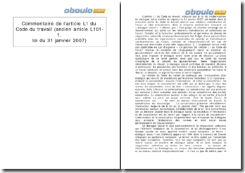 Commentaire de l'article L1 du Code du travail (ancien article L101-1, loi du 31 janvier 2007)