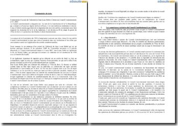 Commentaire d'extrait de l'éditorial de Jean Louis Debré, cahiers du Conseil Constitutionnel