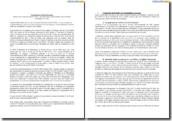 Retour sur le statut du chef de l'Etat : une question de responsabilité, Olivier Beaud - Le Monde, 23/11/09