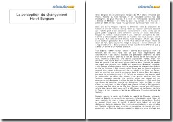 La perception du changement - Henri Bergson
