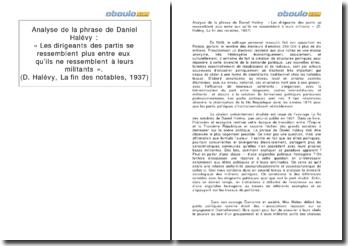 Analyse de la phrase de Daniel Halévy : « Les dirigeants des partis se ressemblent plus entre eux qu'ils ne ressemblent à leurs militants » (La fin des notables, 1937)