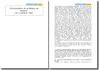 Commentaire de la motion de censure du 2 octobre 1962