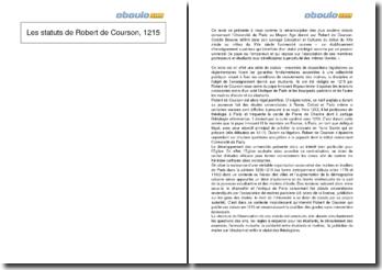 Les statuts de Robert de Courson, 1215