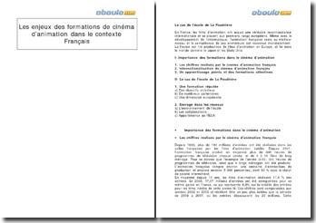 Les enjeux des formations de cinéma d'animation dans le contexte français