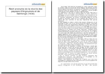 Récit anonyme de la révolte des paysans d'Angoumois et de Saintonge (1636)