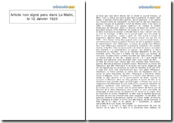Article non signé paru dans Le Matin, le 12 Janvier 1923