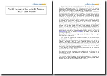 Traité du sacre des rois de France, 1372 - Jean Golein