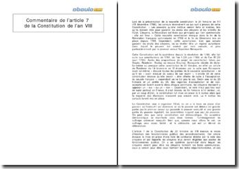 Commentaire de l'article 7 de la Constitution de l'an VIII