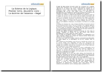 la Science de la Logique, premier tome, deuxième livre : La doctrine de l'essence - Hegel
