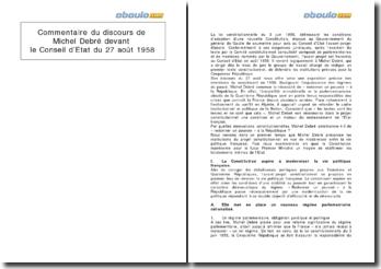 Commentaire du discours de Michel Debré devant le Conseil d'Etat du 27 août 1958