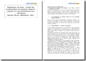 Extrait de la déclaration du ministre Maginot portant sur les fortifications aux frontières, Journal Officiel, décembre 1929