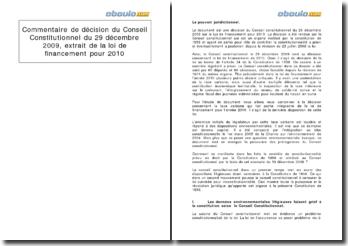 Commentaire de décision du Conseil Constitutionnel du 29 décembre 2009: (extrait de la) Loi de financement pour 2010