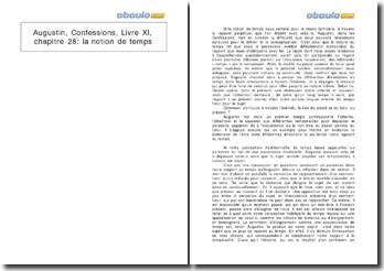 Augustin, Confessions, Livre XI, chapitre 28: la notion de temps