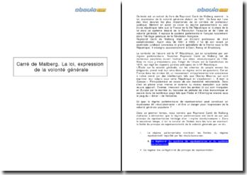 La loi, expression de la volonté générale - Raymond Carré de Malberg