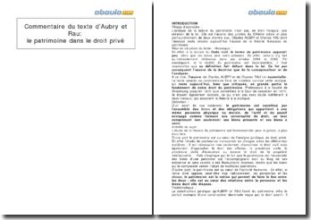 Commentaire du texte d'Aubry et Rau: le patrimoine dans le droit privé