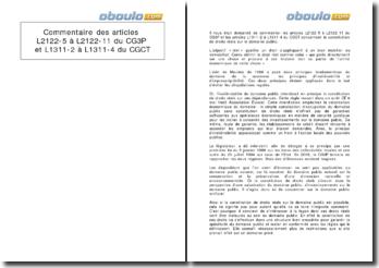 Commentaire des articles L2122-5 à L2122-11 du CG3P et L1311-2 à L1311-4 du CGCT