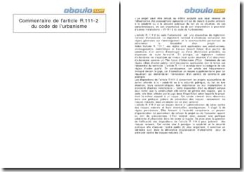 Commentaire de l'article R.111-2 du Code de l'urbanisme