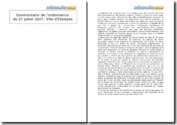 Commentaire de l'ordonnance du 27 juillet 2001, Ville d'Etampes