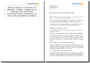 Note de service à l'attention de Monsieur le Maire : analyse de la production de documents administratifs par la commune en vue d'une sécurisation juridique