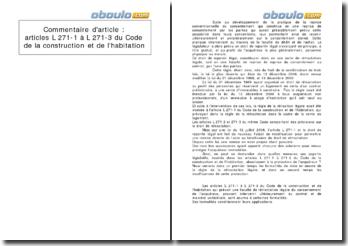 Commentaire d'article : articles L 271-1 à L 271-3 du Code de la construction et de l'habitation