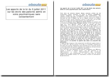 Les apports de la loi du 5 juillet 2011 sur les droits des patients admis en soins psychiatriques sans consentement