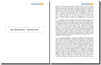 Les Archaniens - Aristophane