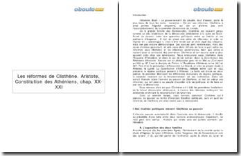 Constitution des Athéniens, chap. XX-XXI - Aristote : Les réformes de Clisthène