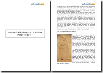 Commentaire d'un relief : Athéna mélancolique