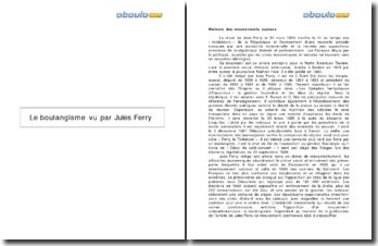 Le boulangisme vu par Jules Ferry