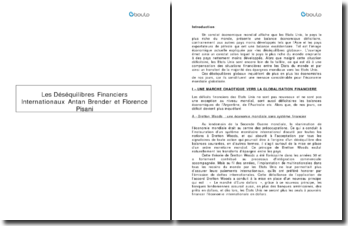 Les déséquilibres financiers internationaux - Antan Brender et Florence Pisani