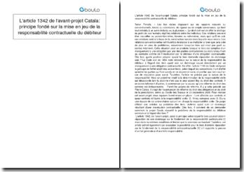 L'article 1342 de l'avant-projet Catala: principe fondé sur la mise en jeu de la responsabilité contractuelle du débiteur