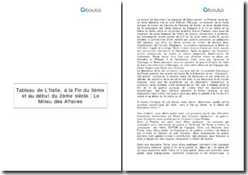 Commentaire de textes: Tableau de l'Italie, à la fin du 3ème et au début du 2ème siècle
