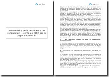 Commentaire de la décrétale « per venerabilem » écrite en 1202 par le pape Innocent III