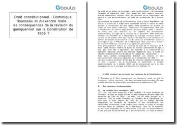Droit constitutionnel - Dominique Rousseau et Alexandre Viala : les conséquences de la révision du quinquennat sur la Constitution de 1958 ?
