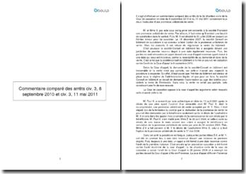 Commentaire comparé des arrêts de la 3e Chambre civile de la Cour de cassation en date du 8 septembre 2010 et du 11 mai 2011 concernant l'exécution d'une promesse unilatérale de vente