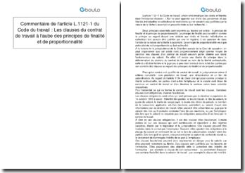 Commentaire de l'article L.1121-1 du Code du travail : Les clauses du contrat de travail à l'aube des principes de finalité et de proportionnalité