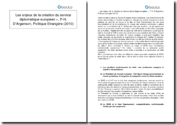 « Les enjeux de la création du service diplomatique européen » - P-H. D'Argenson, Politique Etrangère (2010)