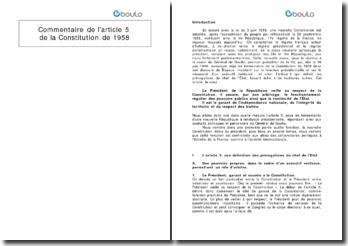 Commentaire de l'article 5 de la Constitution de 1958